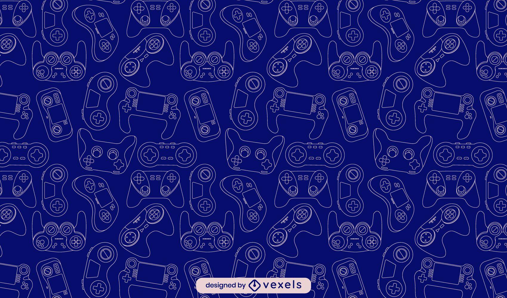 Diseño de patrón de arte de línea de videojuegos de joystick