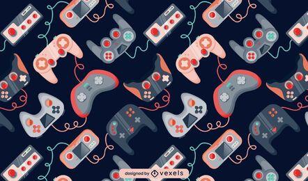 Diseño de patrón retro de videojuego de joystick