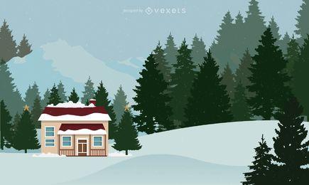 Cabine de Natal nevado com árvores
