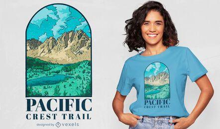 Design de camiseta para trilha de montanha