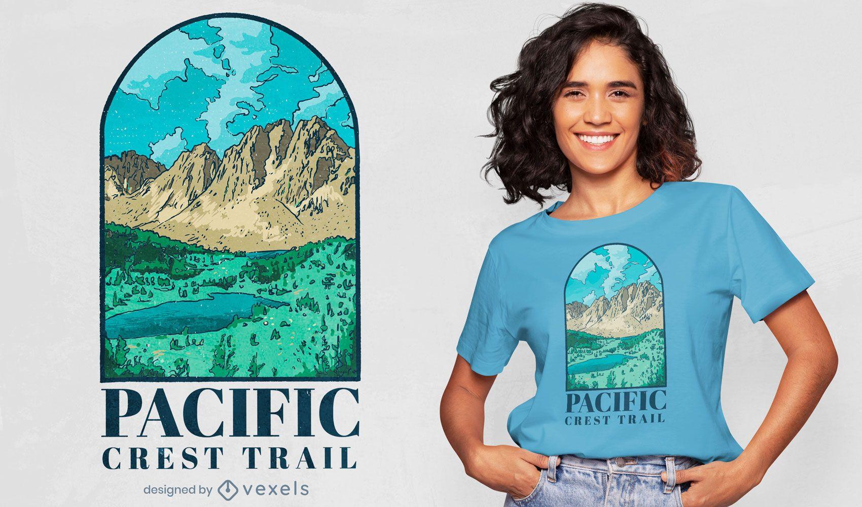 Diseño de camiseta de paisaje de montaña.
