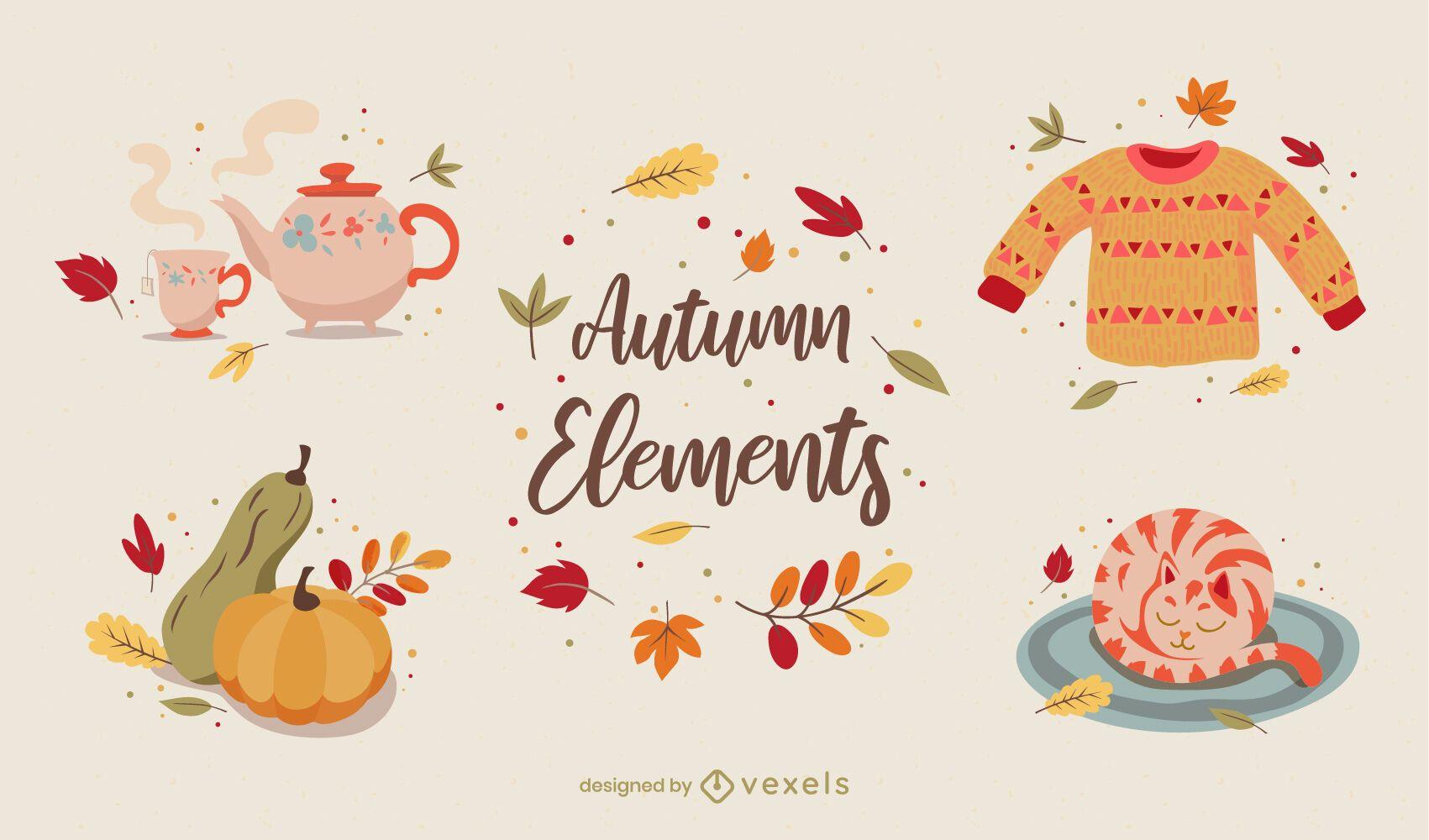 Conjunto de elementos de ilustración de otoño acogedor