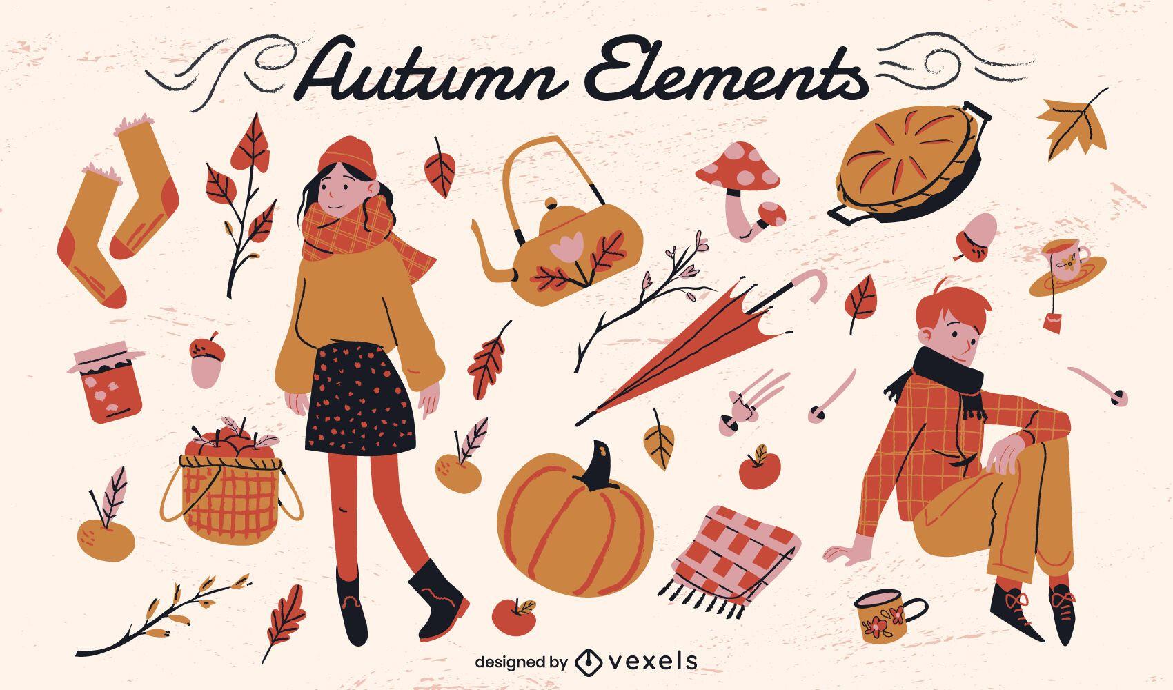 Autumn season nature clothes elements set
