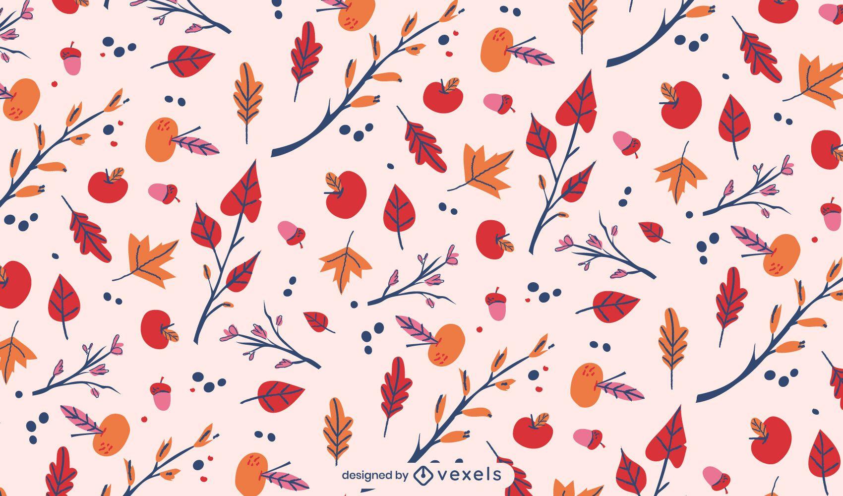 Diseño de patrón de naturaleza de hojas de otoño