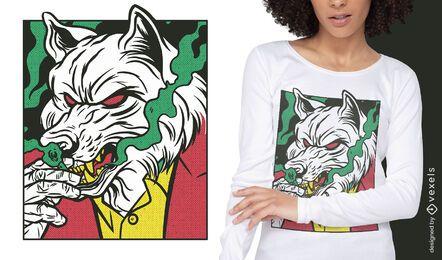 Design de camiseta em quadrinhos com animais da máfia do lobo