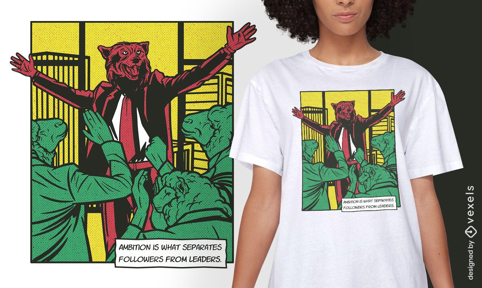 Design de t-shirt de quadrinhos com animais Wolf leader