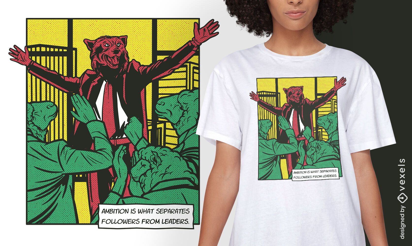 Diseño de camiseta de cómic animal líder lobo.