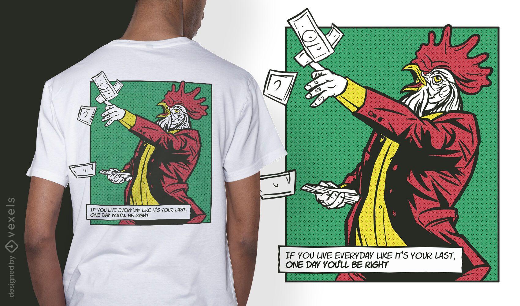 Diseño de camiseta de cómic animal de gallo rico.