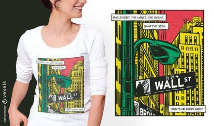 Diseño de camiseta de cómic de ciudad urbana.