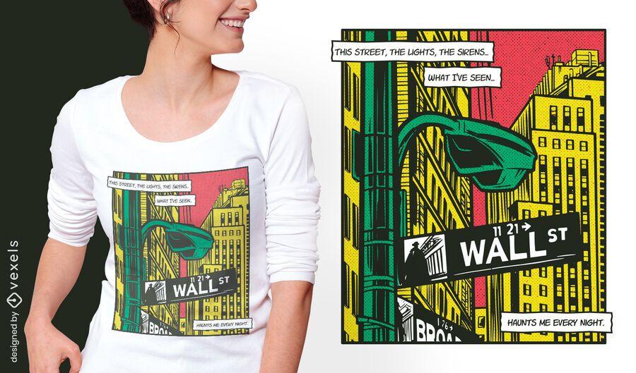 Urban city comic book t-shirt design