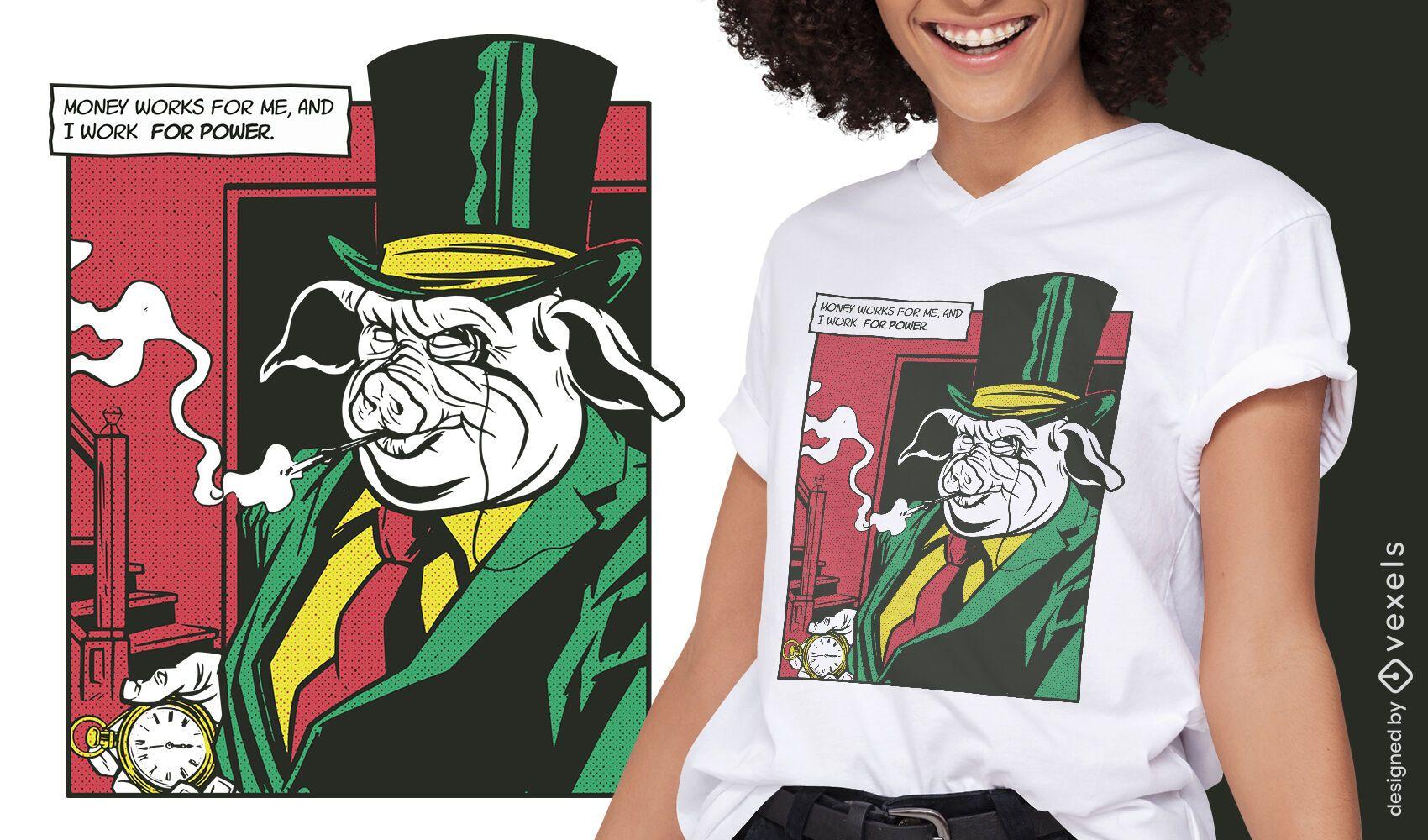 Diseño de camiseta cómica animal mafia cerdo.