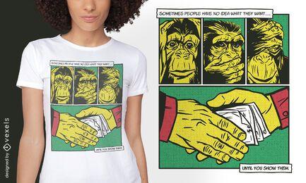 Diseño de camiseta mono mafia animal comic
