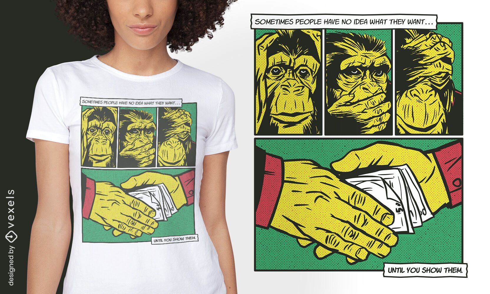 Design de camiseta em quadrinhos com animais da máfia do macaco