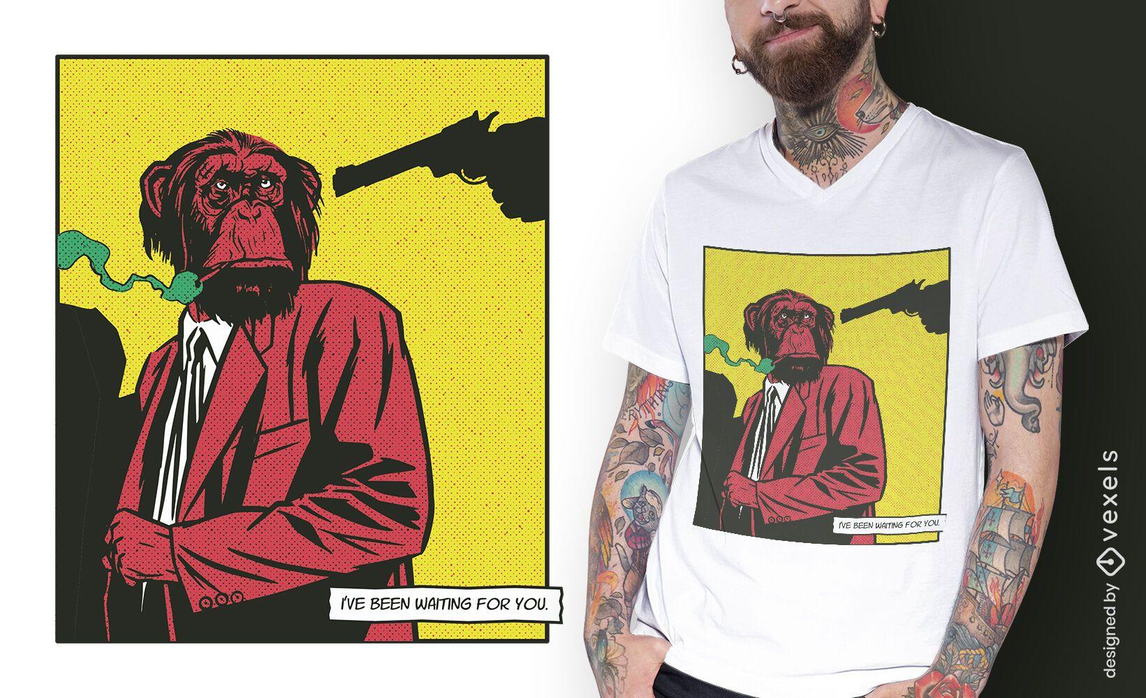 Diseño de camiseta cómica animal mono fumando