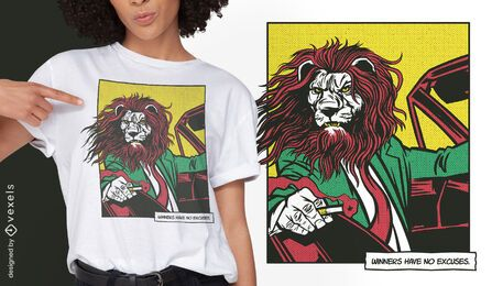 Diseño de camiseta de cómic animal de conducción de león.