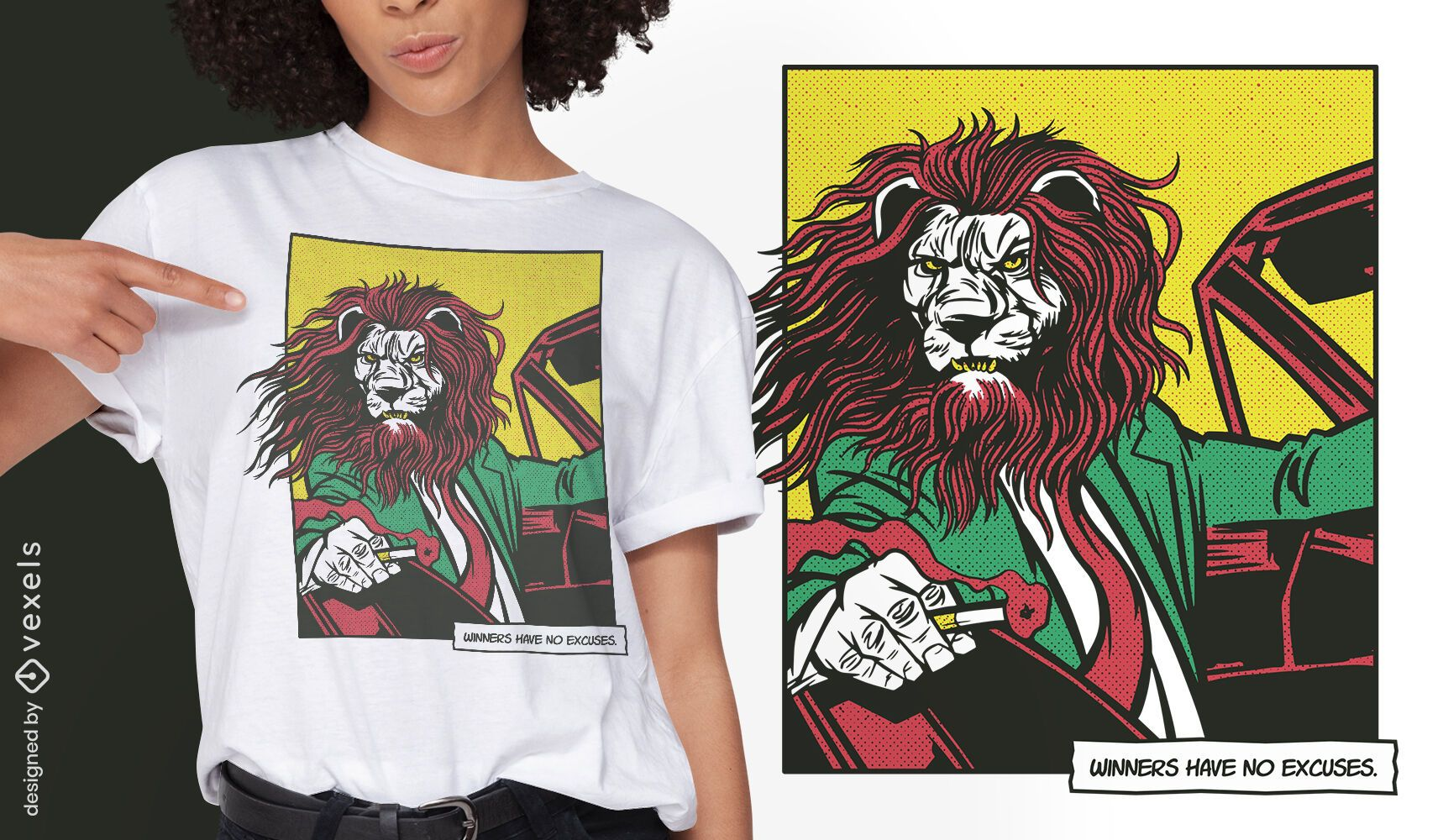 Leão dirigindo design de camiseta em quadrinhos de animais