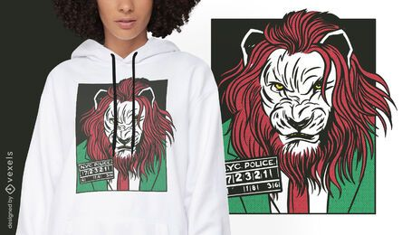Diseño de camiseta de cómic animal criminal león.