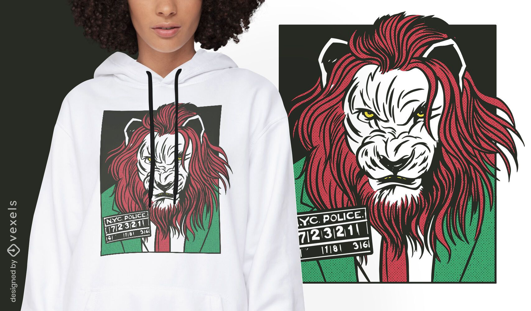 Design de t-shirt em quadrinhos com animais criminosos de leão