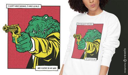 Crocodile gun animal comic t-shirt design