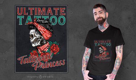 Desenho de camiseta com tatuagem de flor de mulher esqueleto