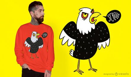 Diseño de camiseta de dibujos animados de animales águila pájaro