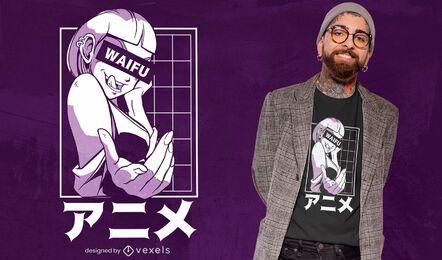 Diseño de camiseta de personaje japonés anime girl