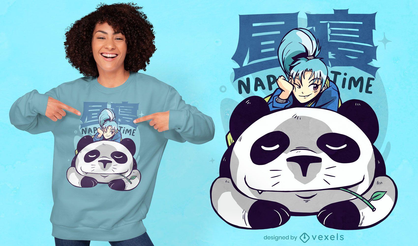 Design de camiseta de anime para o tempo da sesta do panda