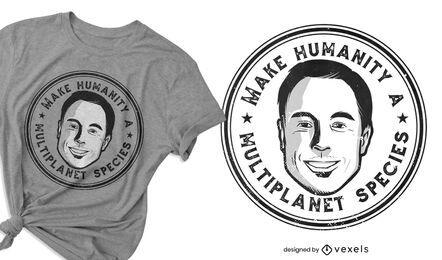 Diseño de camiseta de hombre con cita de especies.