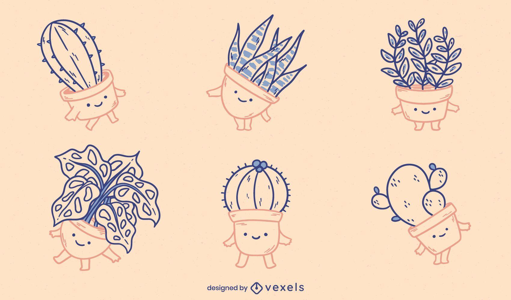 Conjunto de naturaleza de plantas en maceta de cactus kawaii