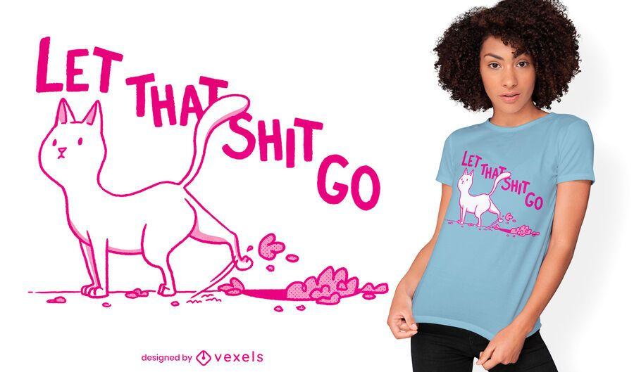 Diseño de camiseta lindo gato tirando tierra