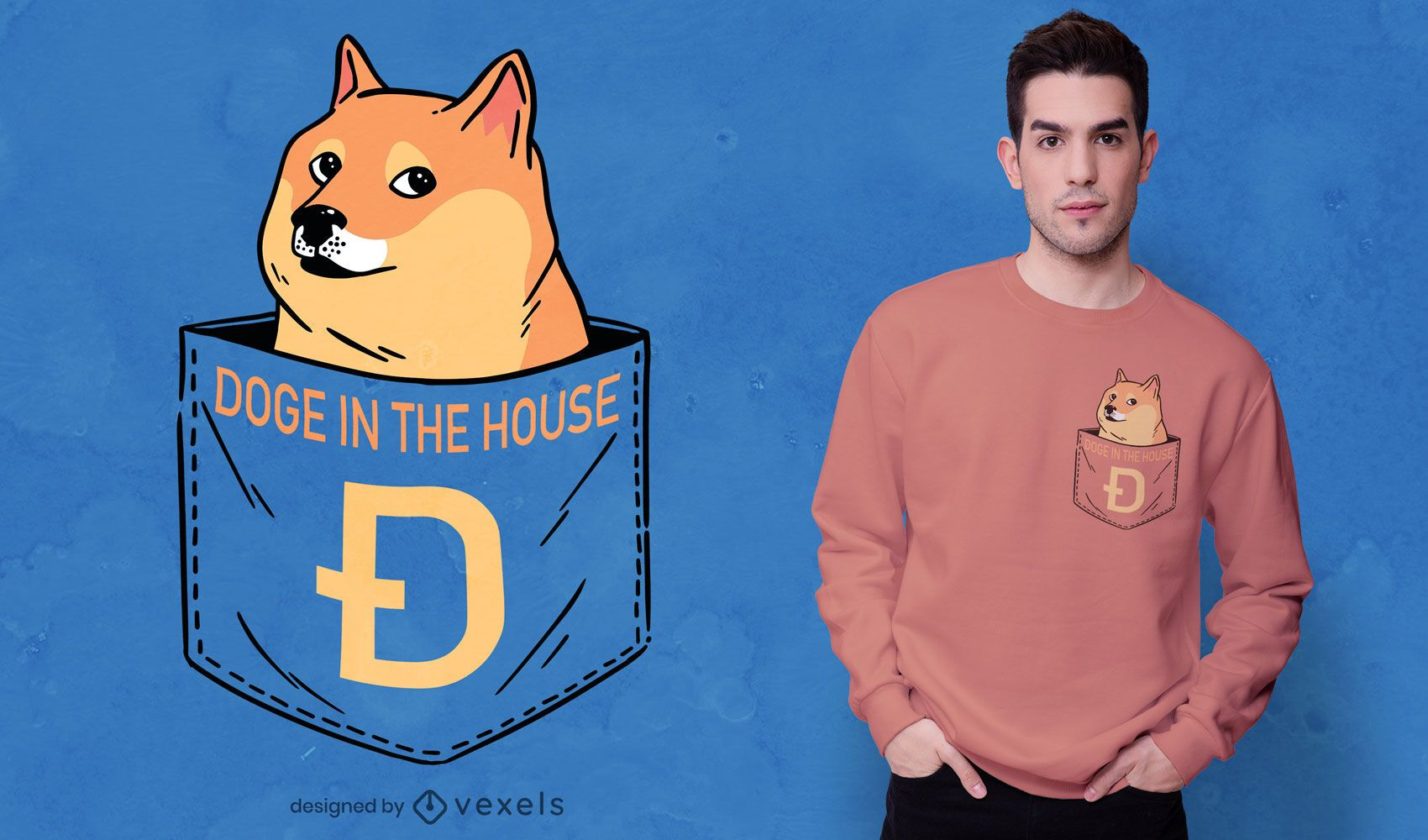 Dog animal in pocket t-shirt design