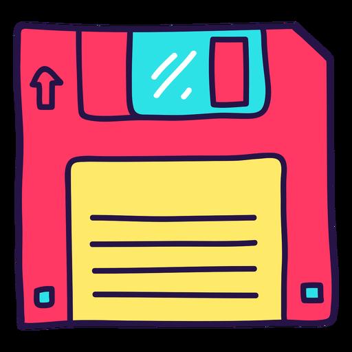 90's pink diskette color stroke