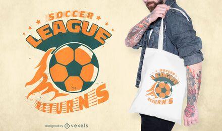 Diseño de bolsa de deporte de la liga de fútbol.