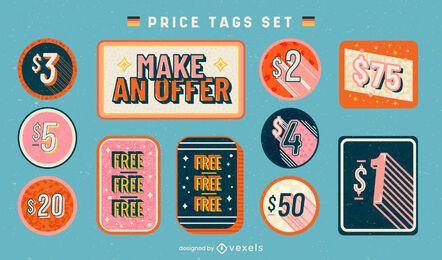 Conjunto de venta de negocios de etiquetas de precio retro