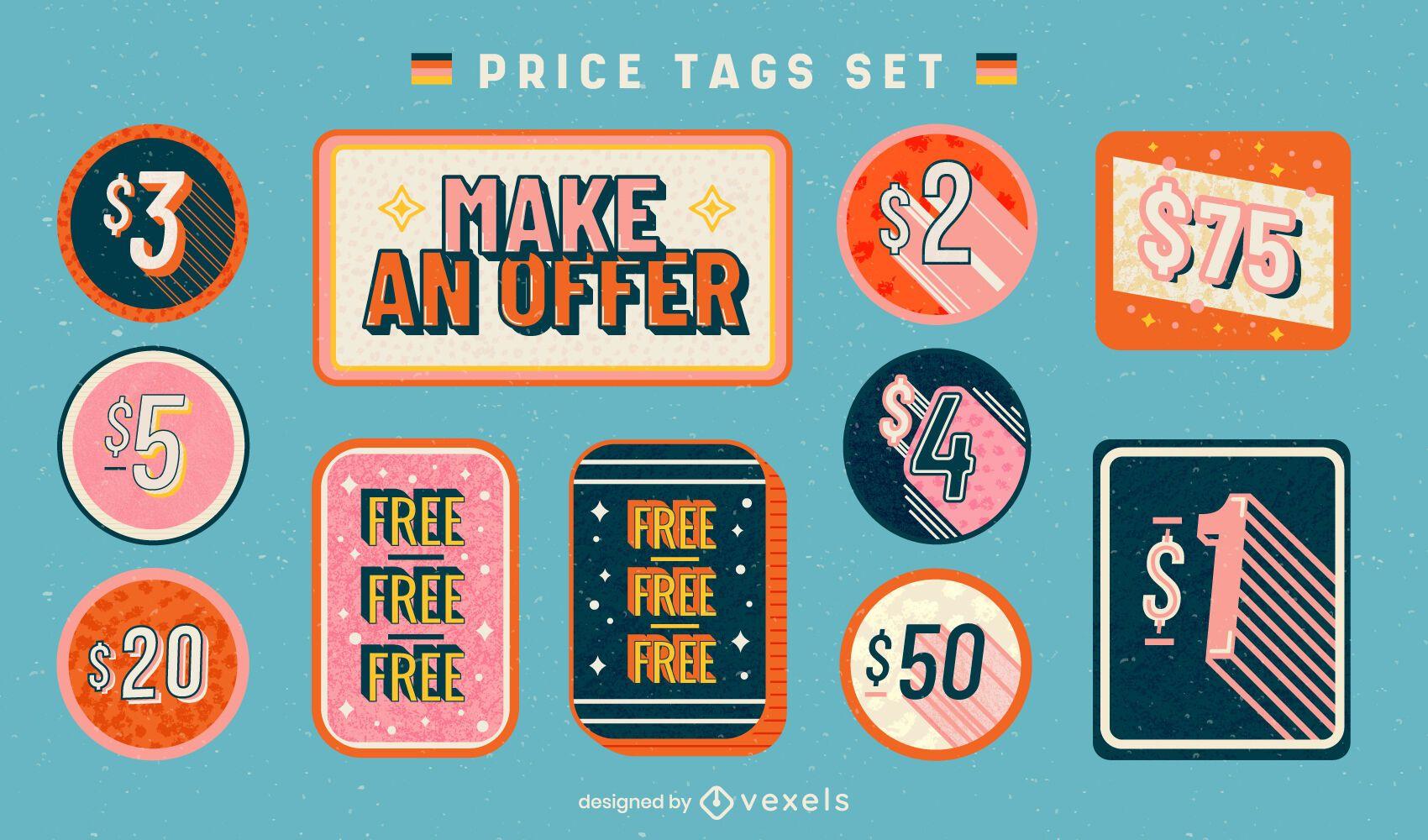 Retro price tags business sale set