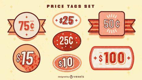Conjunto de venta de negocios de etiquetas de precio de Vitage