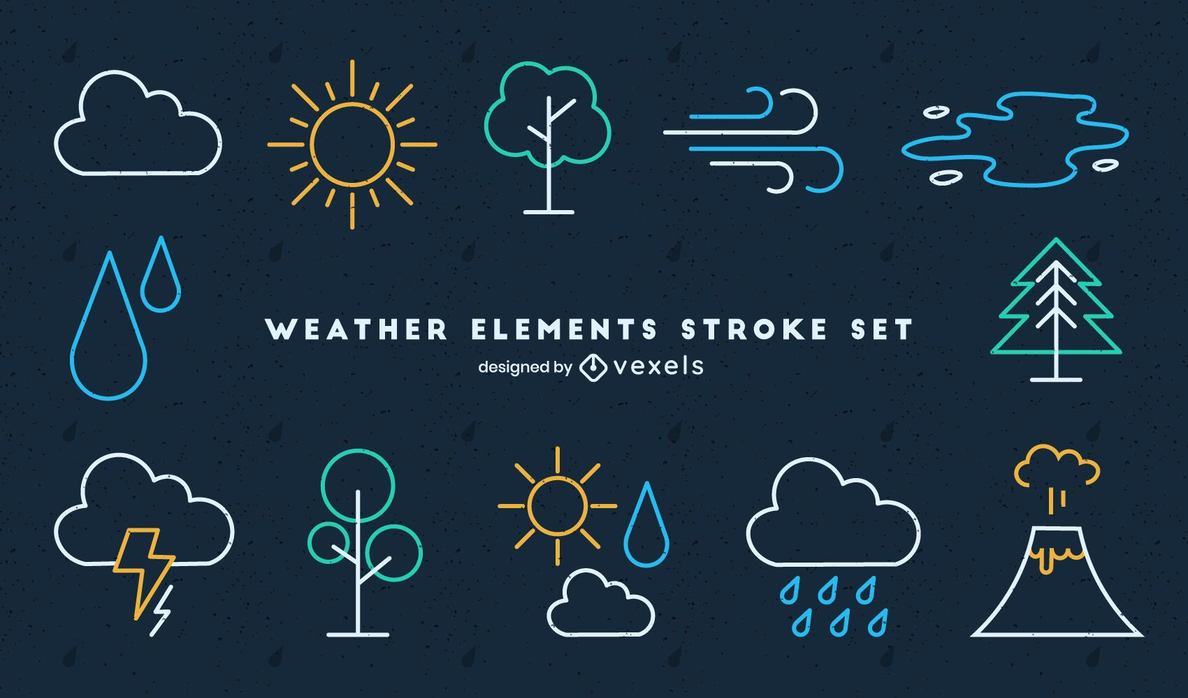 Weather icons nature stroke set
