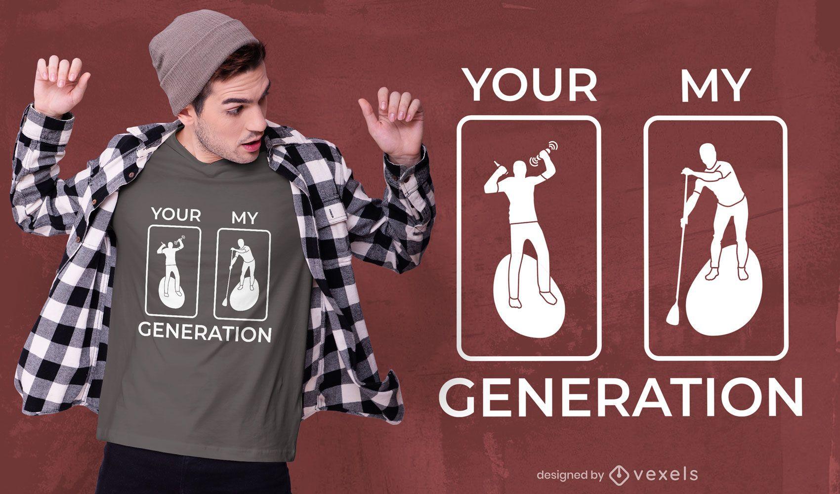 Diseño de camiseta de la generación de paddleboarding