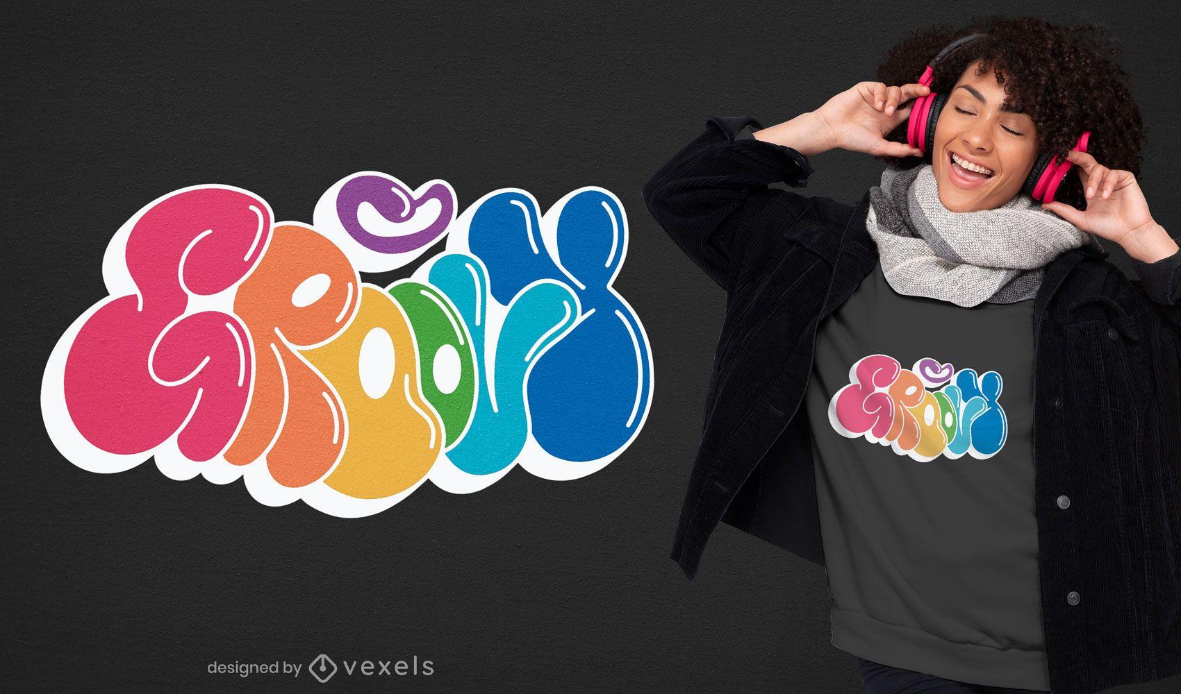 Groovy quote happy retro t-shirt design