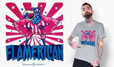 Diseño de camiseta de dibujos animados de flamenco americano