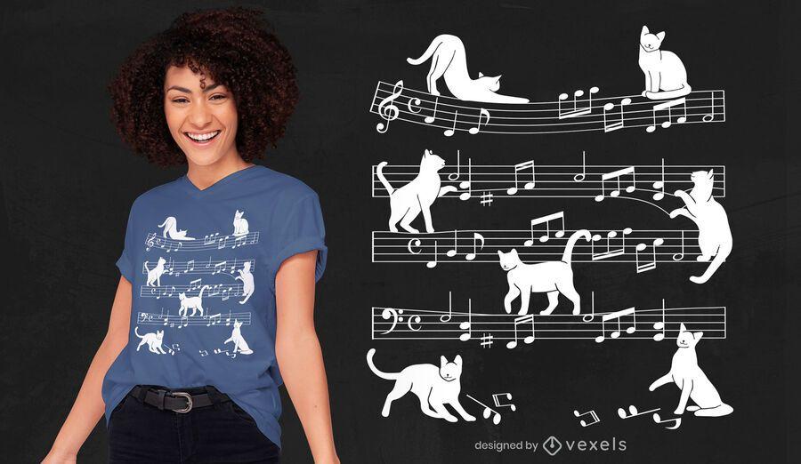 Diseño de camiseta de silueta de gato de hoja de música