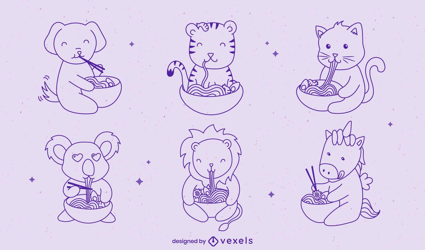 Animales bebés comiendo ramen conjunto de caracteres de comida