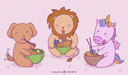 Animais bebês comendo comida japonesa conjunto de caracteres