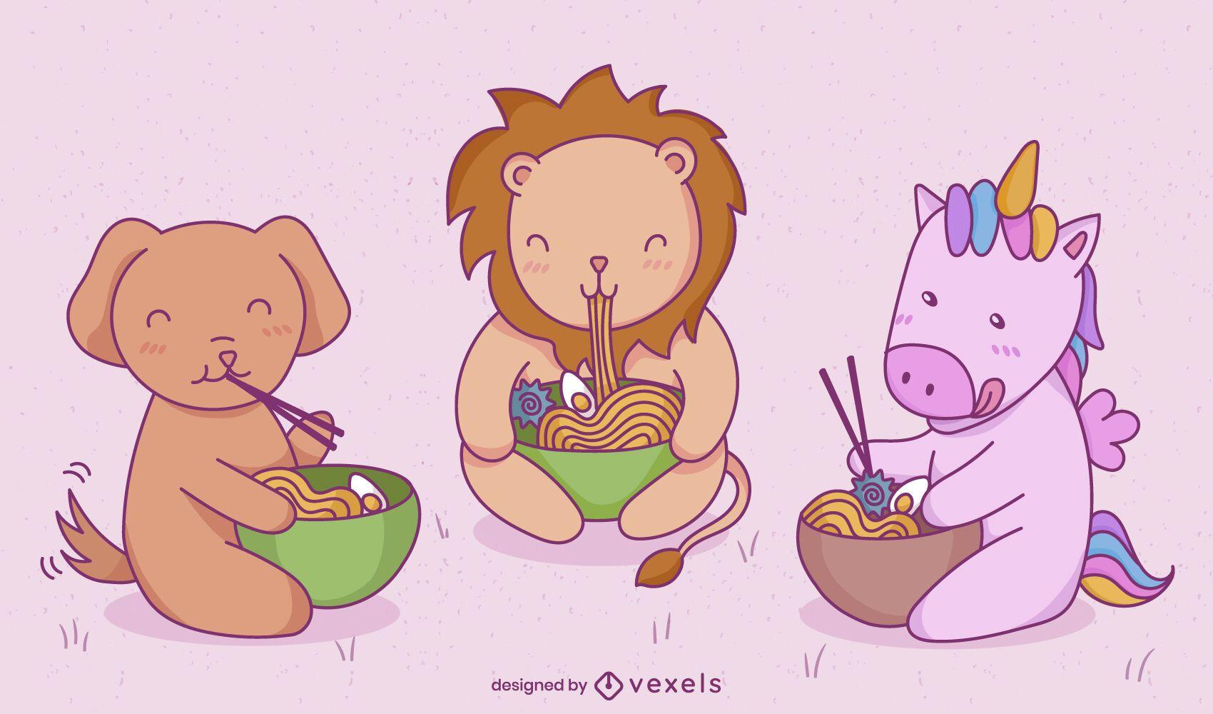 Animales bebés comiendo conjunto de caracteres de comida japonesa