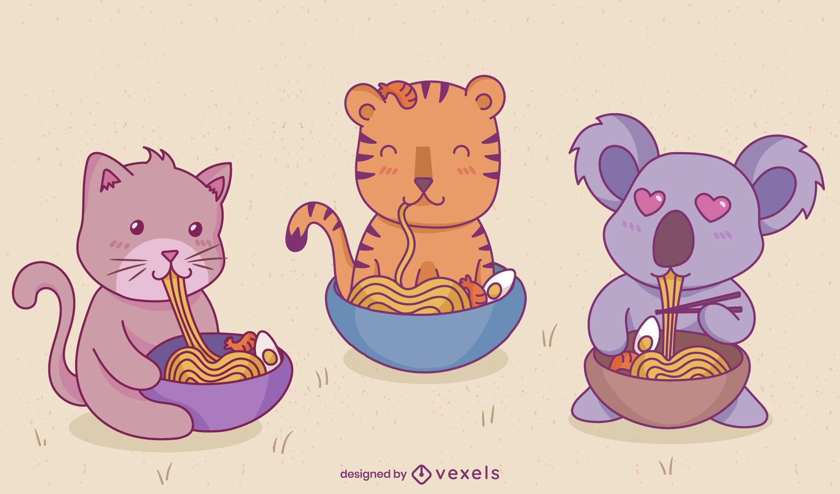 Conjunto de caracteres de ramen de animales bebés