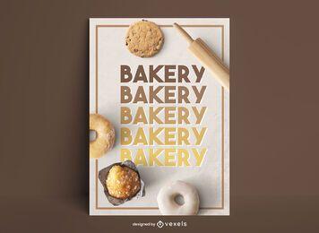 Diseño de gradiente de cartel de comida dulce de panadería
