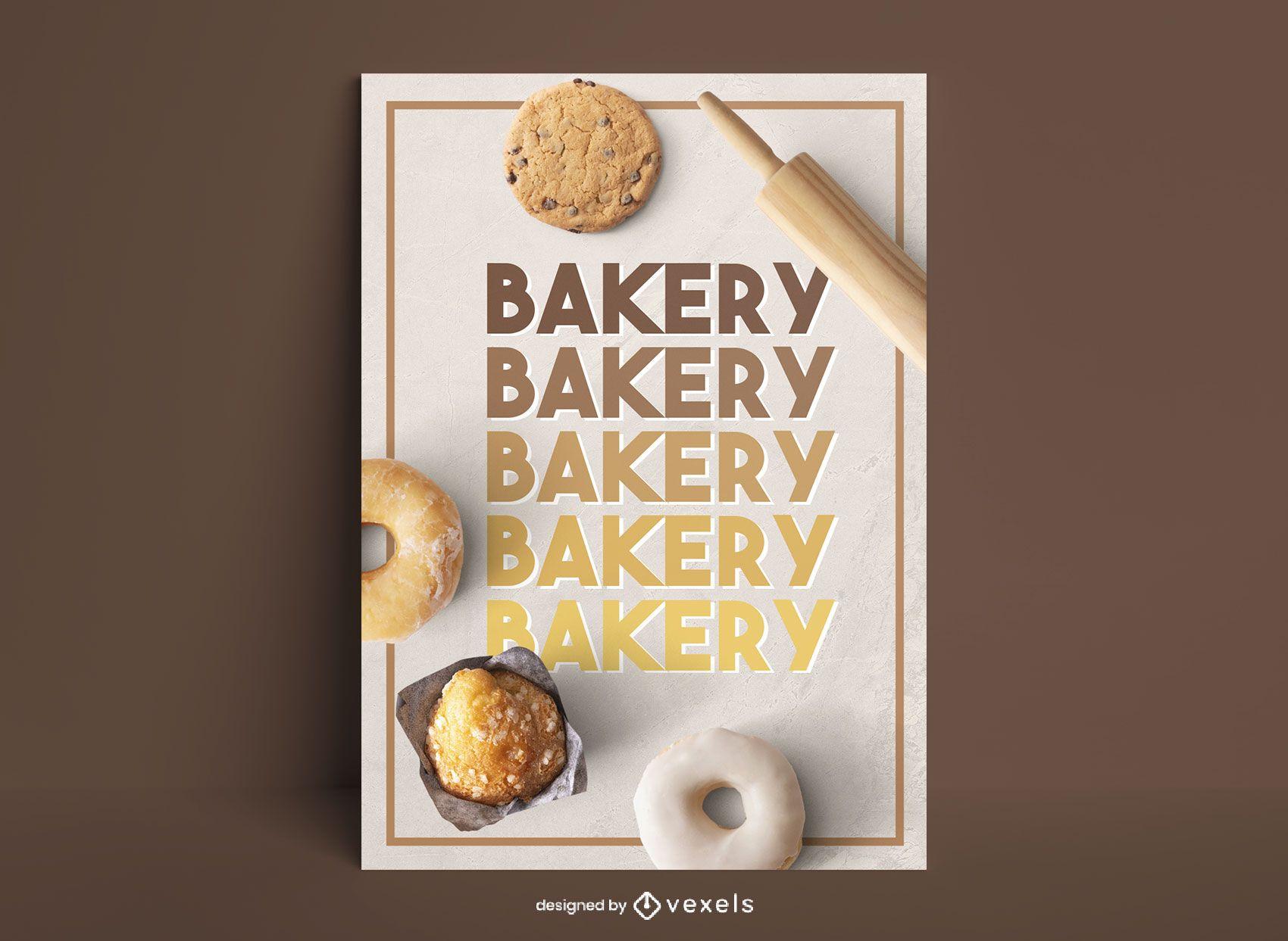 Bäckerei süßes Essen Poster Gradient Design