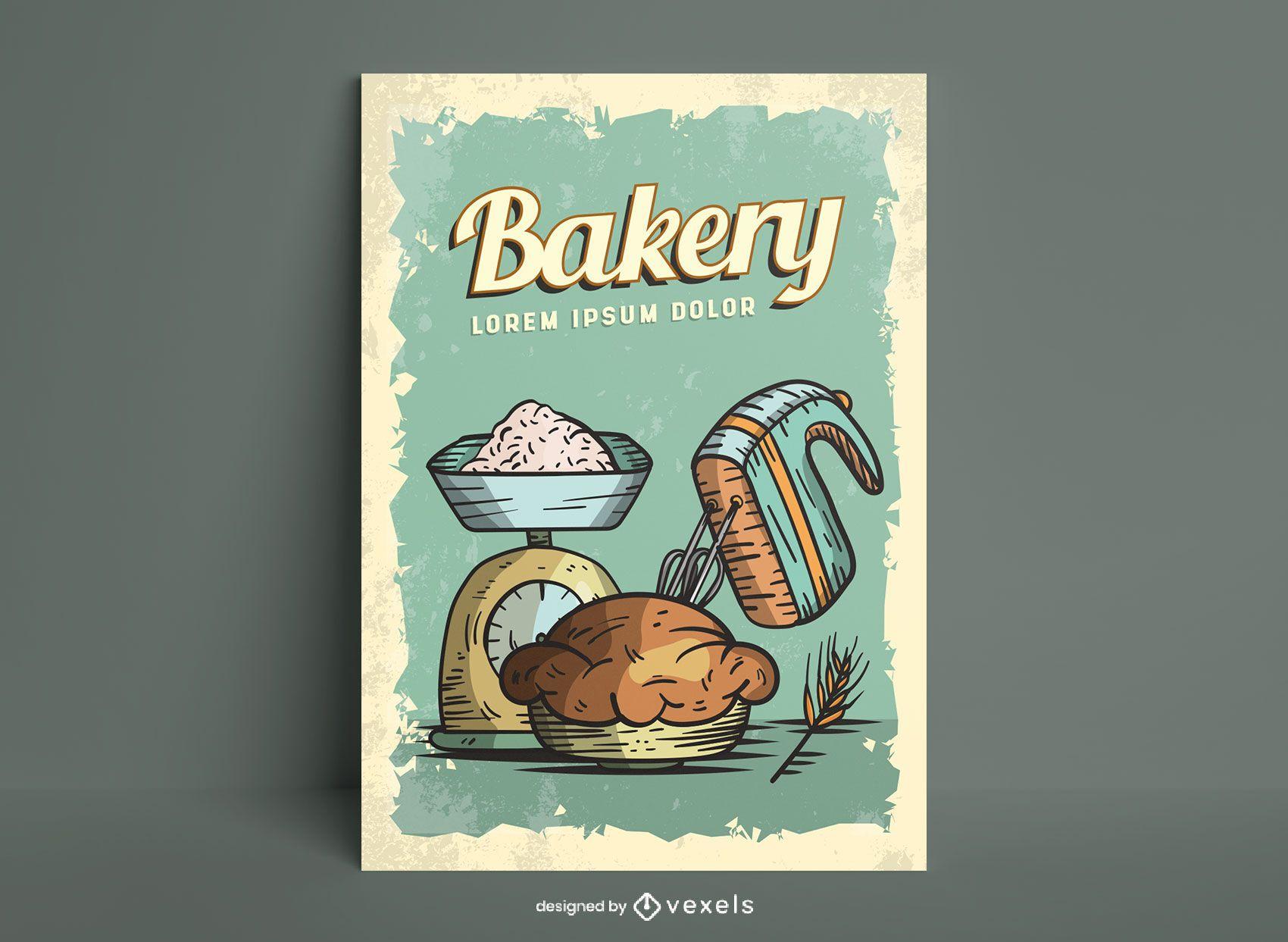 Diseño de cartel de ilustración de comida dulce de panadería