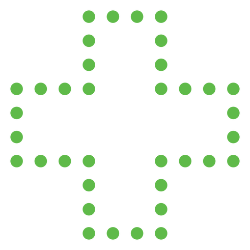 Dotted plus sign shape flat