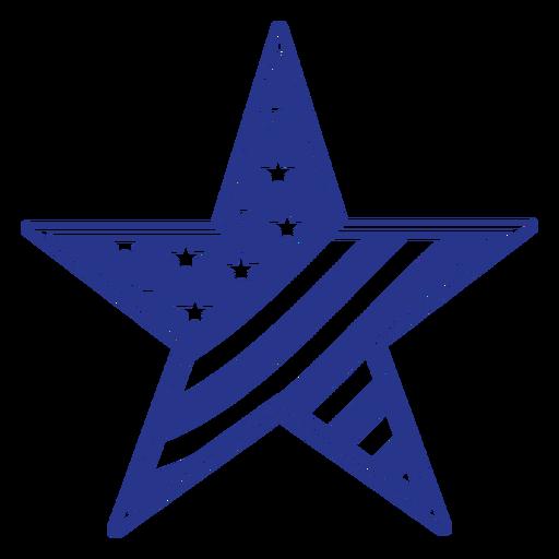 Star american flag badge filled stroke